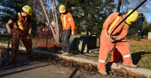 Photo of El-Con Construction Inc. work crews installing buried cable on residential street.