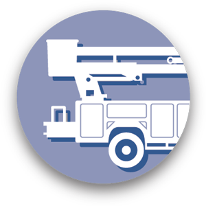 Graphic icon of aerial lift truck representing asset management services.