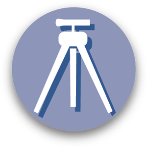 Graphic icon of land survey equipment representing engineering services.